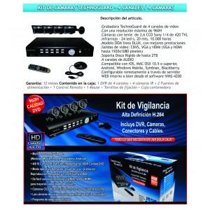 Kit de 4 Cámara TechnoGuard y Grabador 4 ch